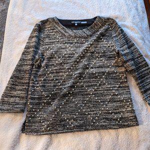 Karl Lagerfeld Marled 3/4 Sleeve Sweater W/Pearls